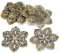30 Newest Bronze Tone Filigree Flower Wraps Connectors 6x5.3cm