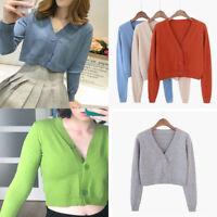 Women Knitted Crop Tops Cardigan Sweet V neck Long Sleeve Short Sweater Coat