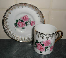 ROYAL TUSCAN PINK ROSE PATTERN FINE BONE CHINA COFFEE CUP & SAUCER ©1947