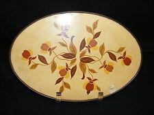 "Vintage Hall China Autumn Leaf Jewel T 7"" Oval Hotpad w Tin Back Cardboard Top"