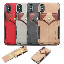 Canvas Hybrid TPU Card Holder Cover Case For iPhone XS Max XR 8 7 Samsung Note 9
