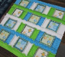 Boys Robot Minky Baby Quilt Gears Rag Crib Cuddle Blanket Blue Green Play Mat