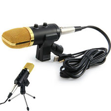 USB Podcast Condenser Microphone PC Recording MIC with Stand Tripod Gold Luxury