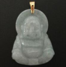 "Jade Buddha Pendant 14k Yellow Gold Bail 1 7/8"" long"