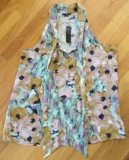 NWT Women's Theory Top Blouse Marble Flower Olethia Moonstone Multi L Large