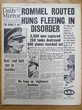 WW2 Wartime Newspaper Daily Mirror November 5 1942 Desert Rats 8th Army MONTY