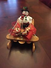 Handcrafted Wooden Holiday Sled with snowman