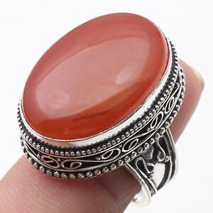 CARNELIAN, & 925 SILVER PLATED GEMSTONE ANTIQUE RING US 9, K1223