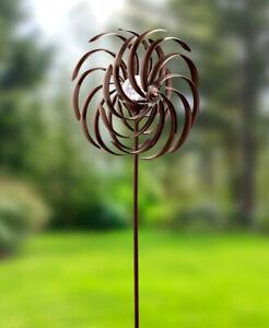 BRONZE Metal DOUBLE Spiral SOLAR Garden Wind SPINNER Stake Outdoor Yard Lawn Art