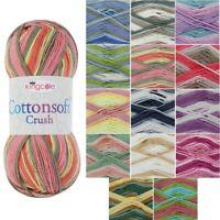 King Cole Cottonsoft Crush DK Knitting Yarn 100% Cotton Crochet 100g