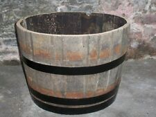 "Half oak barrel planters 25"" (63cm) diameter - painted bands"