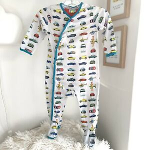 Baby Boys Designer Ted Baker 6-9m Babygrow Sleepsuit Off White Cars Print 🏎🏎