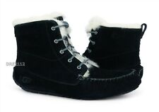 UGG Chickaree Black Fur Suede Bootie Slippers Womens Size 10 *NIB*