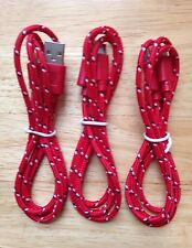 3x pcs 3ft 1M Lot RED Braided MicroUSB Charger Cable for Android Samsung HTC LG