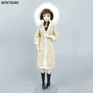 """Light Yellow Winter Warm Long Coat for 11.5"""" Doll Outfits Clothes Parka 1/6 Toys"""