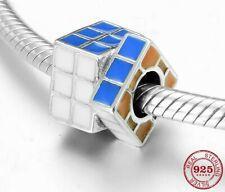 Rubiks Cube Square Rainbow Charm Genuine Sterling Silver 925 Fits European