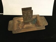 Rare Authentic, Signed & Numbered Tiffany Studio Bronze Ashtray & Match Safe Nr