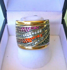 Two Tone Sterling Silver & 9k Gold Ring size M SAME DAY SHIPPING