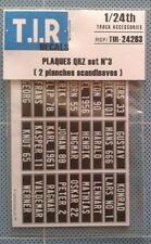 2 PLANCHES EN PAPIERS DE PLAQUES QRZ #3 (SCANDINAVE) , ACCESSOIRES CAMIONS 1/24e