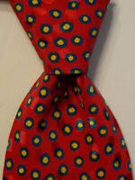 AMERI Mens 100% Silk Necktie ITALY Luxury Designer Geometric Red/Blue/Yellow EUC