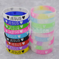 1pc Jesus Silicone Bracelet Letter Print Rubber Wristband Jewelry Random Color
