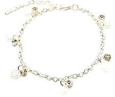 Chaîne Bracelet de Cheville Métal Grelot Strass Pied Argenté Anklet Inde cœur