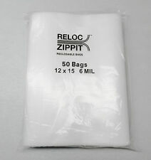 "50 ZIPLOCK BAGS 6 MIL CLEAR 12""x15"" POLY RECLOSABLE LARGE JUMBO SIZE12x15 50 Pcs"