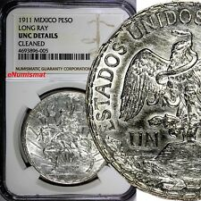 Mexico Silver 1911 Peso Caballito.NGC UNC DETAILS LONG RAY VARIETY KM# 453