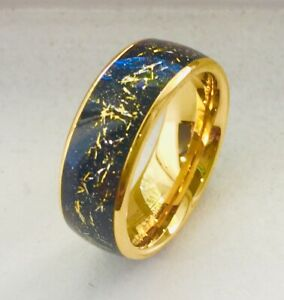 8mm TUNGSTEN CARBIDE MEN'S YELLOW GOLD IP PLATED DOMED RING IMITATION METEORITE