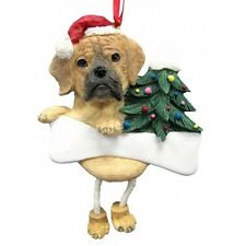 Puggle Dangling Wobbly Leg Dog Bone Christmas Ornament