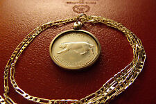 """CANADA LYNX SILVER Quarter COIN Pendant on 30"""" 925 Sterling Silver Chain,  26mm"""