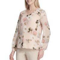 CALVIN KLEIN NEW Women's Floral Ruffled-shoulder Blouse Shirt Top TEDO