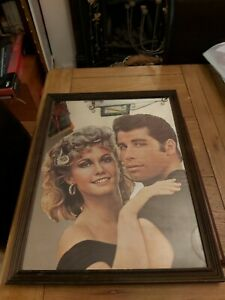 Vintage 1970s John Travolta Olivia Newton-John GREASE Wooden Framed Wall Mirror