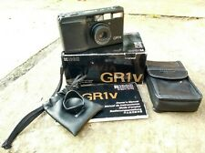Ricoh GR1v 35mm film camera with box, instructions, leather case and lens hood