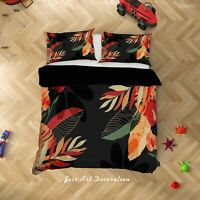 3D Tropical Orange Leaf Quilt Cover Sets Pillowcases Duvet Comforter Cover 96
