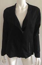 BLUE ILLUSION black linen blend zipper jacket ~ sz S  (K105)