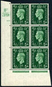 1939 KGVI Dark Colours ½d green Control F39 Cylinder 100 dot SG 462