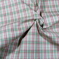 """Italian Suiting Cotton, Yarn Dyed Plaid, Red, Ivory, Green, Scant Yard, 60""""W"""