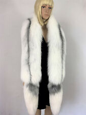 Arctic Marble Fox Fur Stole Double-Sided Fur Boa Detachable Tails White 63' Inch