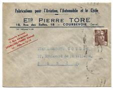 Courbevoie ,enveloppe 1946.Ets Pierre Tore. Aviation,Automobile,cycle.
