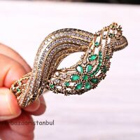 Turkish Jewelry Handmade 925 Sterling Silver Fine Emerald Bracelet Bangle Cuff