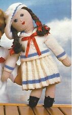 Toy Doll Knitting Pattern with Sailors Outfit DK  54cm height 825