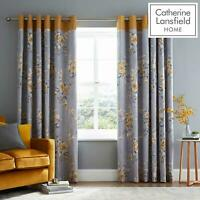 Catherine Lansfield Canterbury Ochre Eyelet Curtains Grey Ring Top Curtain Pairs