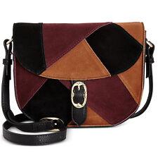 EMMA FOX Filmore Patchwork Saddle Bag CROSSBODY, Genuine SUEDE and Leather Multi