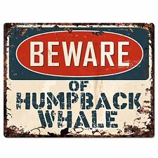 Pp1835 Beware of Humpback Whale Plate Rustic Chic Sign Home Store Wall Decor