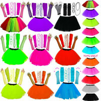 GIRLS NEW NEON UV TUTU GLOVES LEG WARMERS BEADS & BANGLES FANCY DRESS HEN PARTY