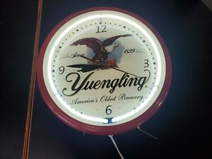 """19"""" Yuengling Lager Beer Sign Red  Double Neon Clock Americas Oldest Brewery"""