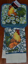 Kitchen Towel~Potholder~Country Rooster~White Daisy~Blue Paisley Vine~Stripe~NEW