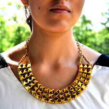 Gold STATEMENT Necklace Dani Studded Multi Pyramid Collar Fashuun Village UK