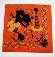 Great Vintage Halloween Napkin w/ Pumpkin Wearing Party Hat *